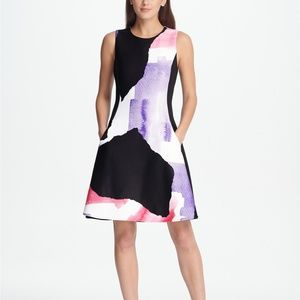 DKNY Graphic Print Scuba Fit & Flare Dress Multi